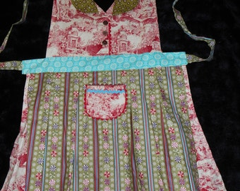 Womens Holiday Apron, Christmas Toile, Peppermints, Collar, Over the Head, Overskirt, Red, Green, Aqua, The Midge