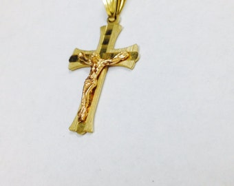 14K Yellow Gold Cross - 14K Gold Cross Pendant - Yellow Gold Cross - Handmade Cross - 14K Gold Cross