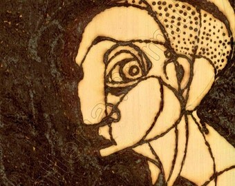 Woman With Palm Tree / Solar Art - Solar Pyrography - Woodburned Art / High Res Giclée Print