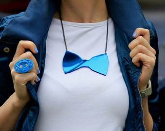 Bow Tie- Statement Accessory- Must have Bow s/s 2015. Statement Jewelry - Laser Cut Jewelry - Acrylic Jewelry