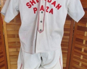 Vintage 1930's 1940's Men's Baseball Uniform Cotton Outfit! Empire! Very Cool! Historic Americana at it's best