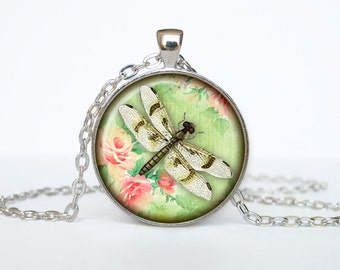 Dragonfly necklace dragonfly pendant dragonfly jewelry colorfull green art pendant charm