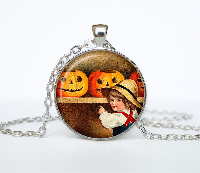 Halloween vintage necklace Trick or Treat Halloween Pendant Halloween  jewelry black orange brown
