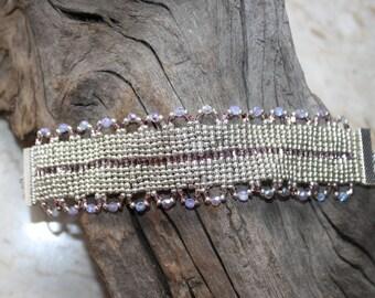Silver & lavender single ruffle loom beaded bracelet - One of a Kind