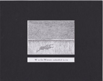 Edward Gorey 'W is for Winnie'... Custom Matted Post Card