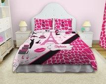 popular items for paris bedding on etsy. Black Bedroom Furniture Sets. Home Design Ideas