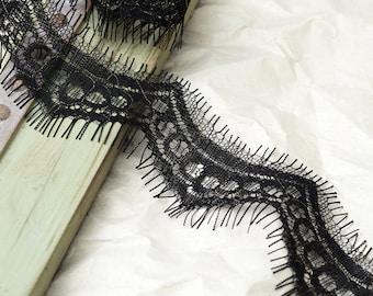 1.5-Yard BLACK Eyelash Lace Trim, Bridal Lace, 1-3/4 Inch, ROI-10981