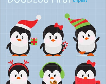 Christmas Penguins Digital Clip Art for Scrapbooking Card Making Cupcake Toppers Paper Crafts
