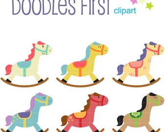 Cute Rocking Horses Digital Clip Art for Scrapbooking Card Making Cupcake Toppers Paper Crafts