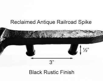 "3"" Left Black Railroad Spike Cupboard Handle Dresser Drawer Pull Cabinet Knob Antique Vintage Old Rustic Re-purposed House Restoration"