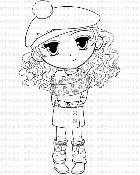 coloring pages for big girls - digital stamp winter coloring page big eyed girl by artbymiran