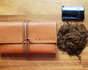 Leather tobacco pouch -3 fold tobacco case with free monogramming !