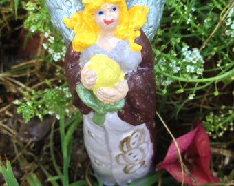 Handcrafted cement Fairy statue/garden nymph for indoors or outdoors.  Home/garden/yard decor/art/brown/statue/