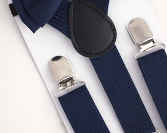 SUSPENDER & BOWTIE SET.  Newborn - Adult sizes. Navy Blue Suspenders. Navy Blue bowtie