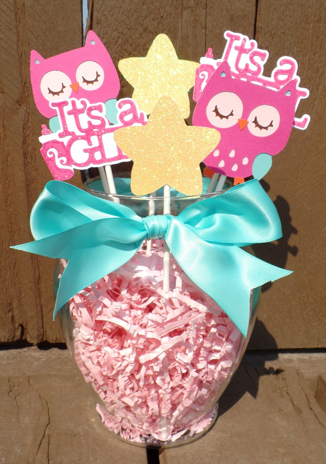 Teal and pink owl centerpiece baby shower decorations