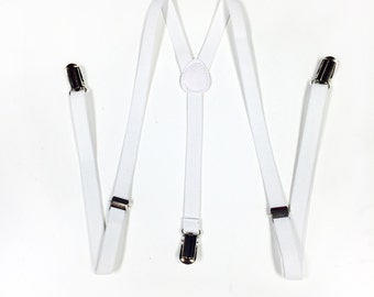 Mens suspenders, White Suspenders, mens suspender, boys suspenders, Skinny Suspenders, Men's suspenders
