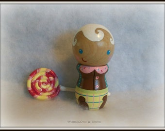 Lil Bobby Mint - Candyland Series OOAK Collectible Kokeshi Doll