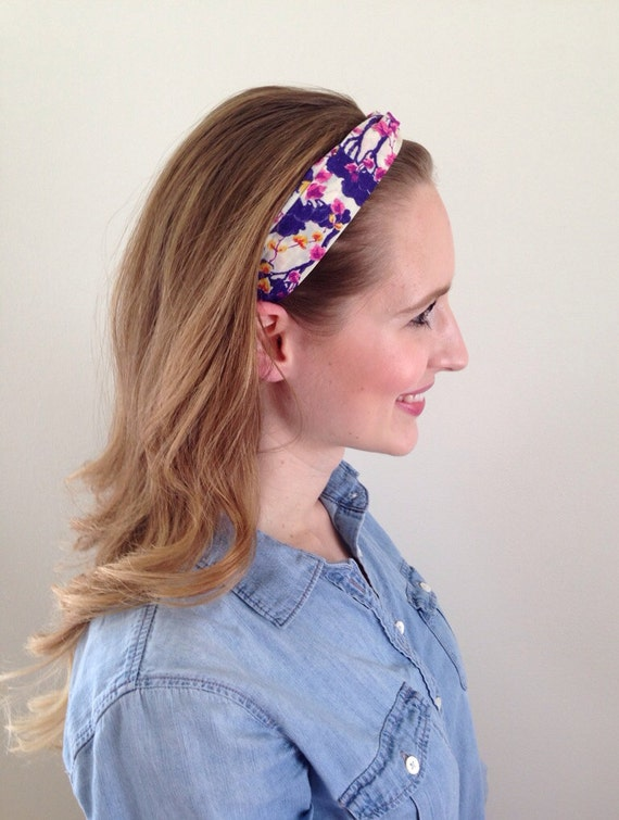 Floral Headband knotted  in fun purple yellow pink and white print cotton fabric