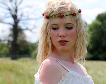 Red Rose Flower Crown, Red Flower Crown, Festival Crown, Festival Garland, Rose Crown, Festival Flower Crown, Hair Garland, Hair Wreath