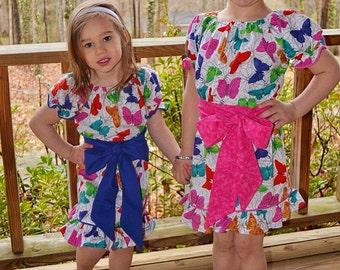 BUTTERFLY KISSES - Girls Spring Dress - Butterfly Print - Peasant Dress - Little Girl Dresses - EASTER - Toddler - Children Clothing