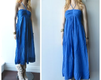 TAKE 40% OFF Cotton Gauze Empire Waist Hippie Boho Dress Free Size