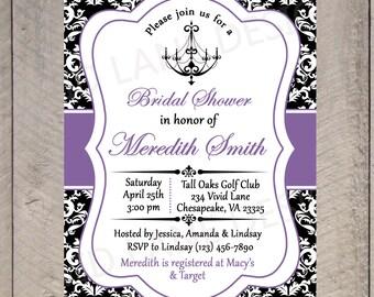 Bridal Shower Printable Invitation - Chandelier, Black White and Purple, Wedding Shower Invitation, Black and White Damask - 014