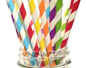 25 School Lunch box Paper Straws, Rainbow Party Straws Kids, Primary Colored Straws, Multi-colored Straws, Classic Striped retro Straw
