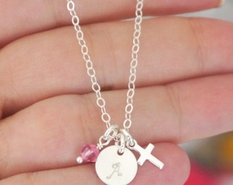 Tiny Cross Necklace, Baby Dedication Necklace, Baptism Necklace, Personalized baby dedication gift, Confirmation Gift, First Communion, CDCB