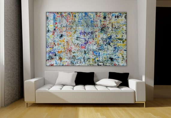 This is a SAMPLE Large Abstract painting by Marcy Chapman blue purple yellow white black red etc. or commission a painting hude xl any size