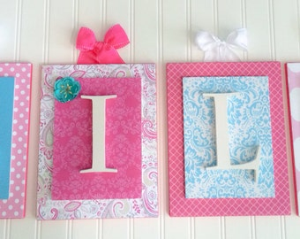 Nursery letters,Pink and Aqua Nursery Letters, Girls Wooden Letters, Girls Nursery Letters, Wood Letters for Nursery, Hanging Wall Letters