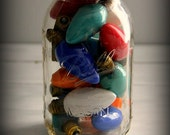 Vintage Christmas Bulbs in Mason Jar Decoration