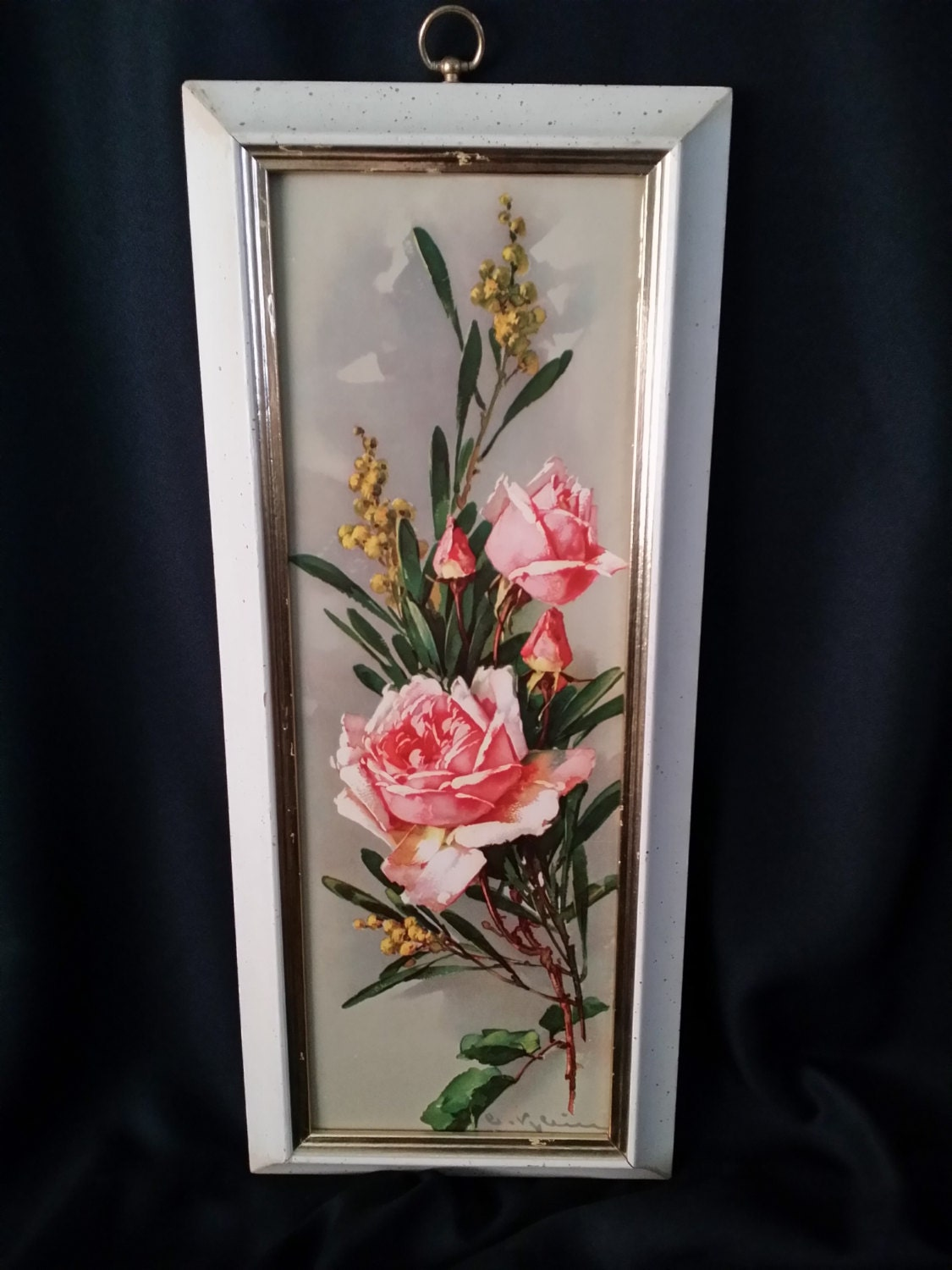 Vintage wall art pink roses hollywood regency cottage chic for Hollywood regency wall decor