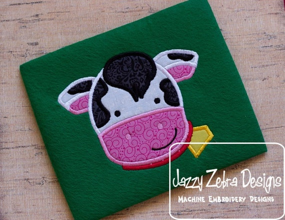 Cow Face Appliqué embroidery Design - cow Applique Design - farm Applique Design