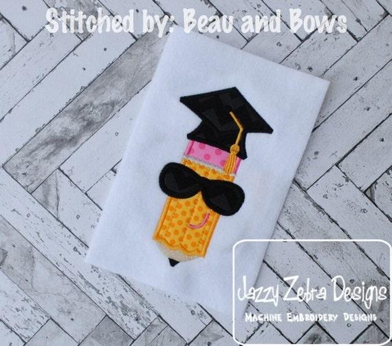 Pencil with Graduation Cap Appliqué embroidery Design - pencil appliqué design - graduation appliqué design - school appliqué design