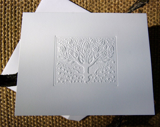 8 Love Tree Note Cards. Gift Set. Letterpress. Stationery. Valentine. Card pack. Love Cards Blank Inside