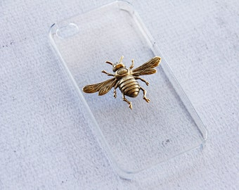 iPhone 4 4s Insect Case Clear Case iPhone 4s Transparent Case iPhone4 Unique Cases iPhone 4 Gold Plated Vintage Bee Custom iPhone 4 Case