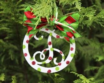 Vine Monogram Christmas Ornaments