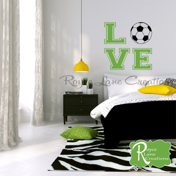bedroom teen room decor soccer ball with word art for girls bedroom