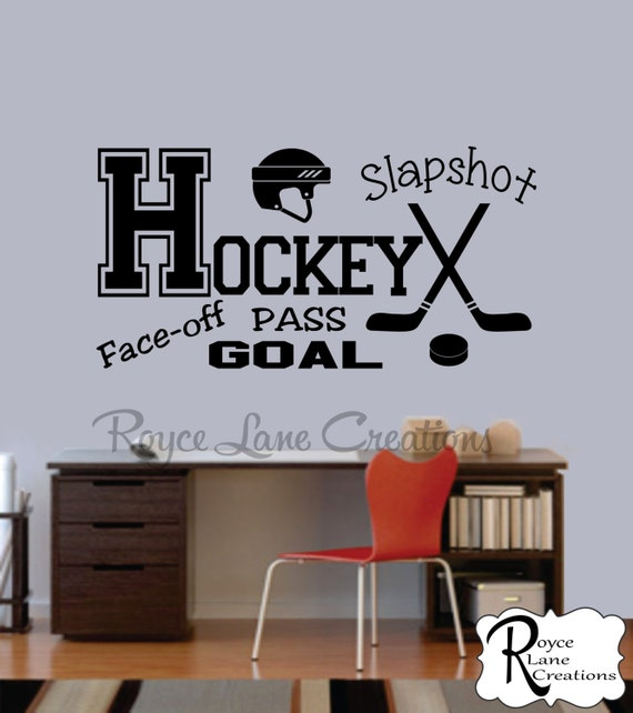 Hockey Decal Sports Vinyl Wall Decal Hockey Boys Room Teen Boy Room Decor Wall Art Hockey Decor Hockey Wall Decal Ice Hockey Decal