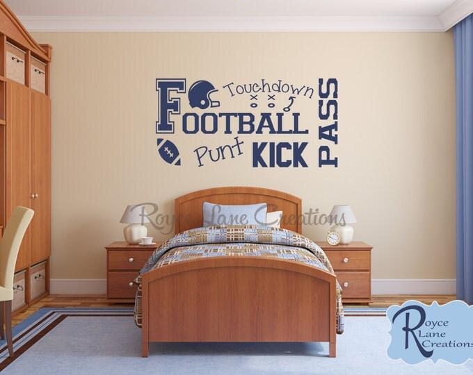 Football Wall Decal B7 Sports Vinyl Wall Decal Football Decal Boys Room Teen Boy Room Decor Wall Art Football Decor Football Wall Decal