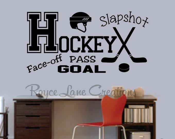 Hockey Decal Sports Vinyl Wall Decal Hockey Boys Room Teen Boy Room Decor Wall Art Hockey Decor Hockey Wall Decal  Ice Hockey Decal