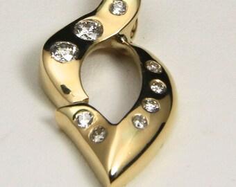 Stunning 14k Yellow Gold & Diamond Slide Pendant Gypsy Setting
