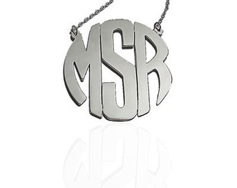 Personalized Silver Monogram Circle Necklace,