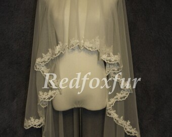 Bridal Veil fall, simple lace veil, bridal veil single fingertip, folding veil veil