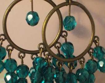 Dark teal chandelier earrings