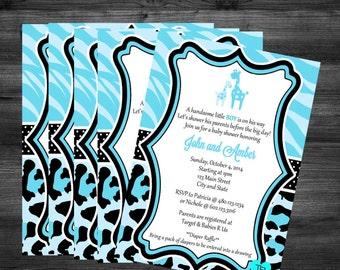 Personalized Blue Safari Baby Shower Invitation