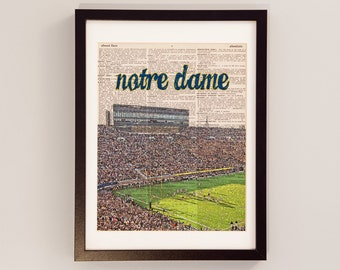 Notre Dame Stadium Dictionary Art Print - ND Football, Fighting Irish - Print on Dictionary Paper - University of Notre Dame, Graduation