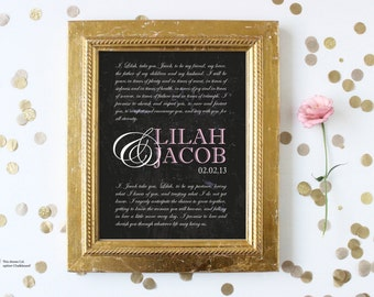 Personalized Wedding Vows Print. Wedding Vow Art. Wedding Vow Keepsake Gift for Husband / Wife Paper Anniversary Gift. Marriage Vows.