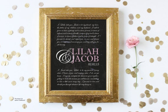Wedding Vows Gift: Items Similar To Personalized Wedding Vows Print. Wedding
