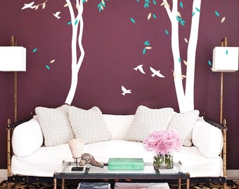Large Tree Wall Sticker, Nursery Tree Wall Decals, Tree mural with Birds, Vinyl Wall Decal -  MM018
